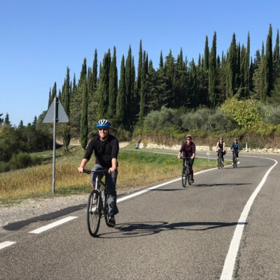 Biking towards San Gimignano on quiet backroads