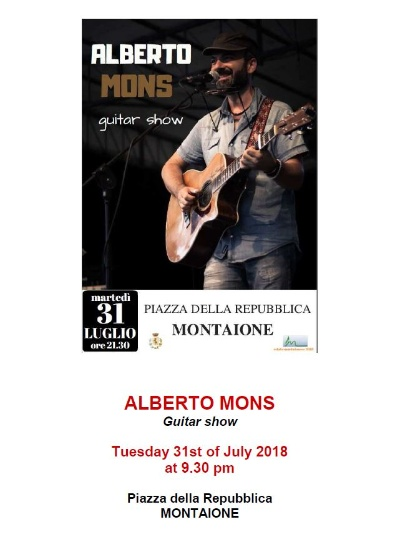GUITAR SHOW CONCERT TUESDAY 9.30PM MONTAIONE