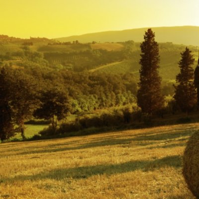 Sunset in the Chianti with San Gimignano