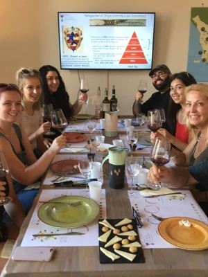 learning how to taste at the wine school in Florence