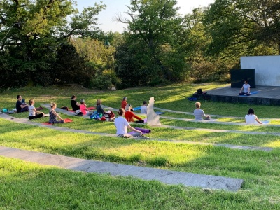Yoga lesson at Parco Sculture del Chianti