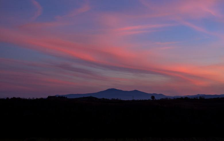 Sunset looking at Monte Amiata from the sienese countryside
