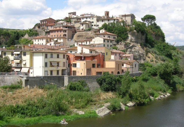 View of Capraia from the bridge over the Arno river
