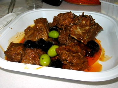 Wild boar with olives