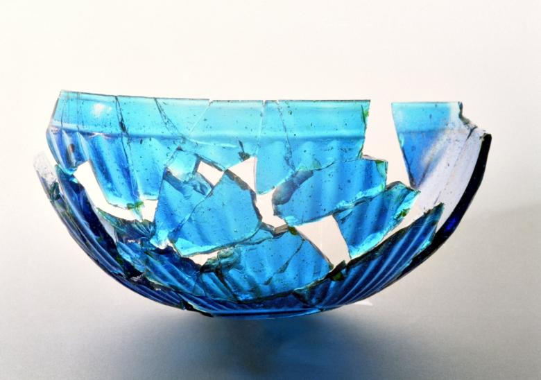 The Etruscan cup in Turquoise glass at the Archeological Museum in Artimino