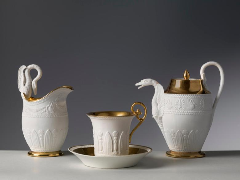 Manifattura di Dagoty and Manifattura Ginori, Breakfast set, c. 1810, biscuit and gold, Florence, Porcelain Museum