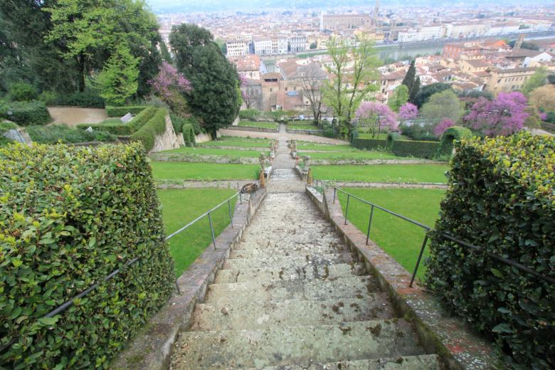 Florence seen from the stairway in the garden