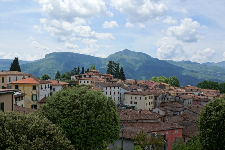 View of Barga and the Apuan Alps