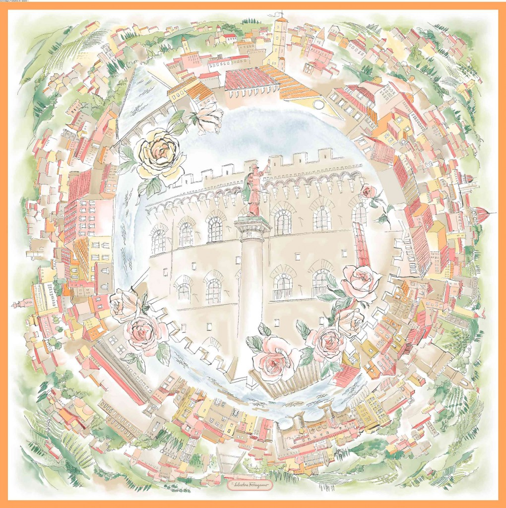 View is the new silk scarf created specifically for this exhibition. Measuring 90 cm by 90 cm, it was inspired by engraving of a 360° view of Florence from the top of Palazzo Spini Feroni that was used as the image for the exhibition. The scarf features the palace in its centre, surrounded by a floral wreath.