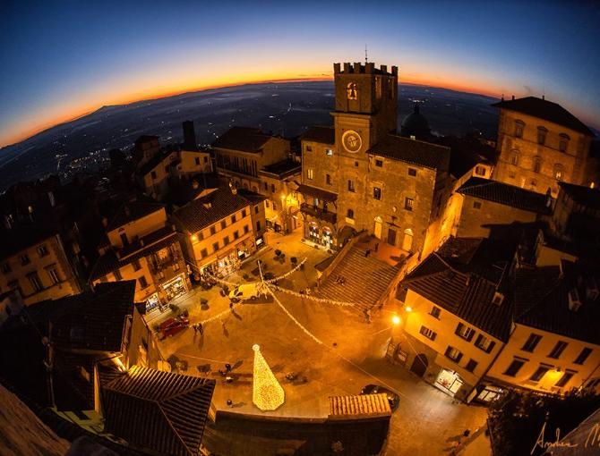 Cortona at sunset in December