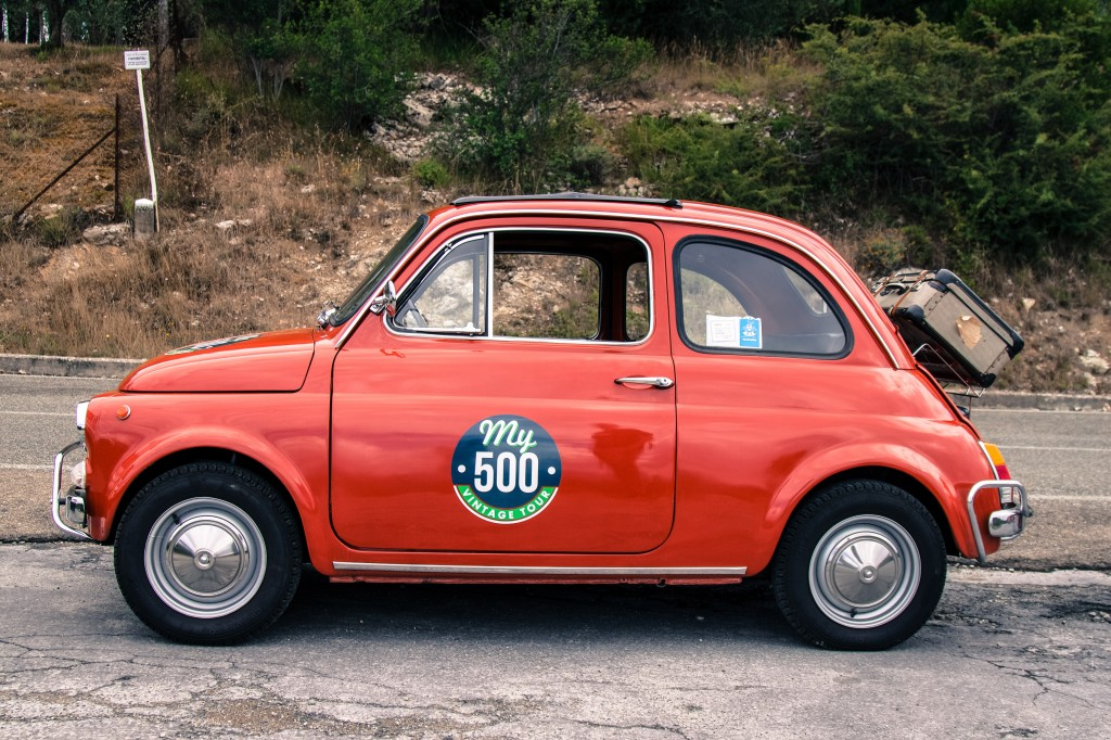 Fiat 500 on a country road