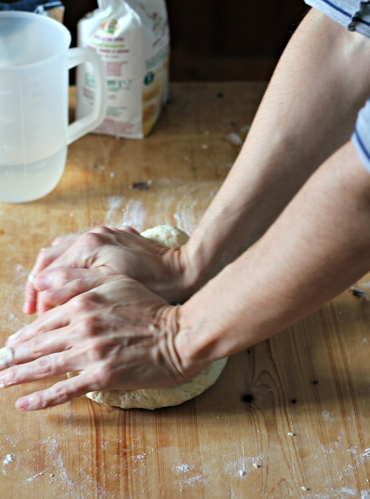 When the dough begins to stick, knead energetically using the palm of your hand. If necessary, add water or flour
