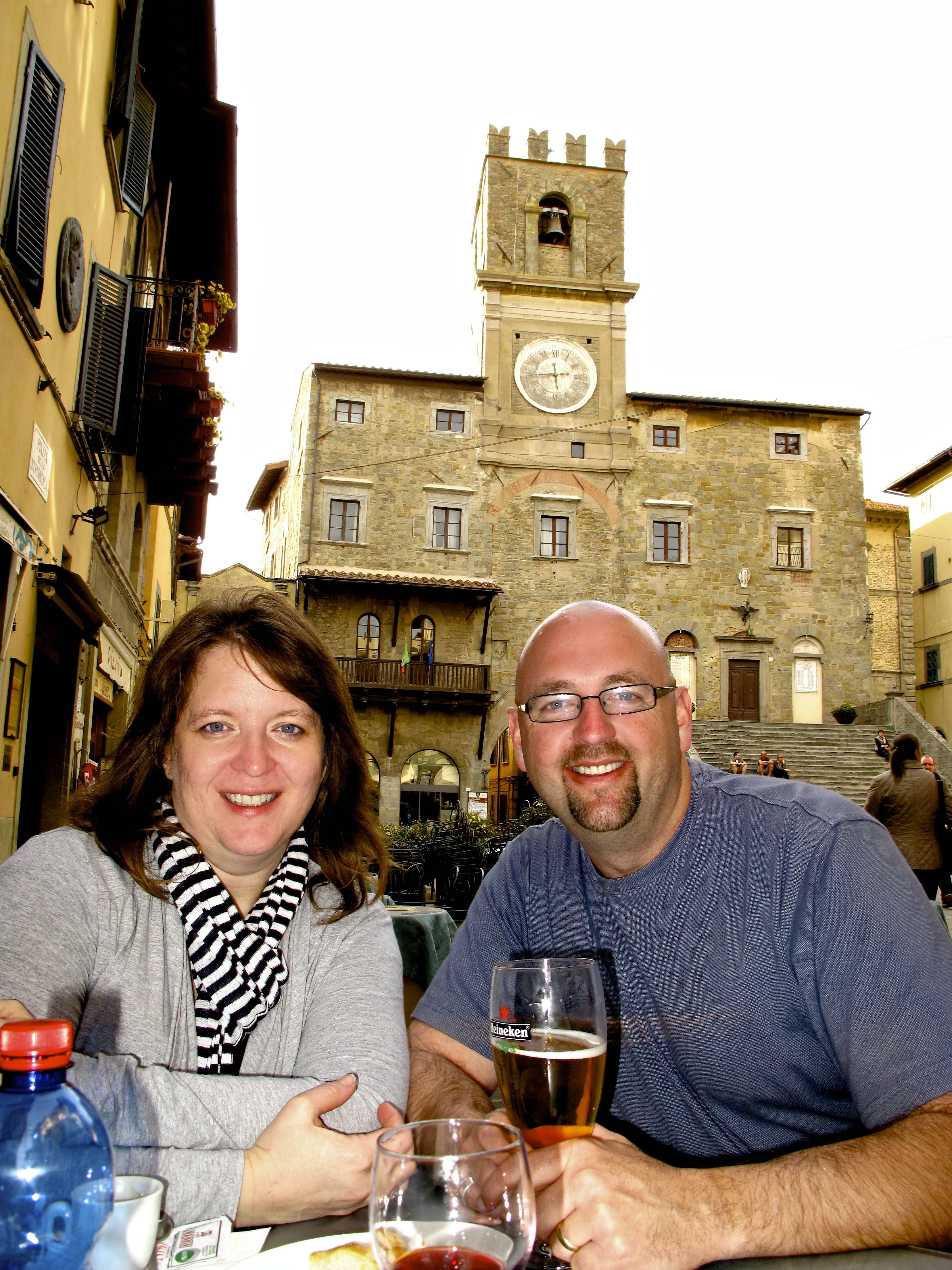 Travis and his wife Anjanette in Cortona