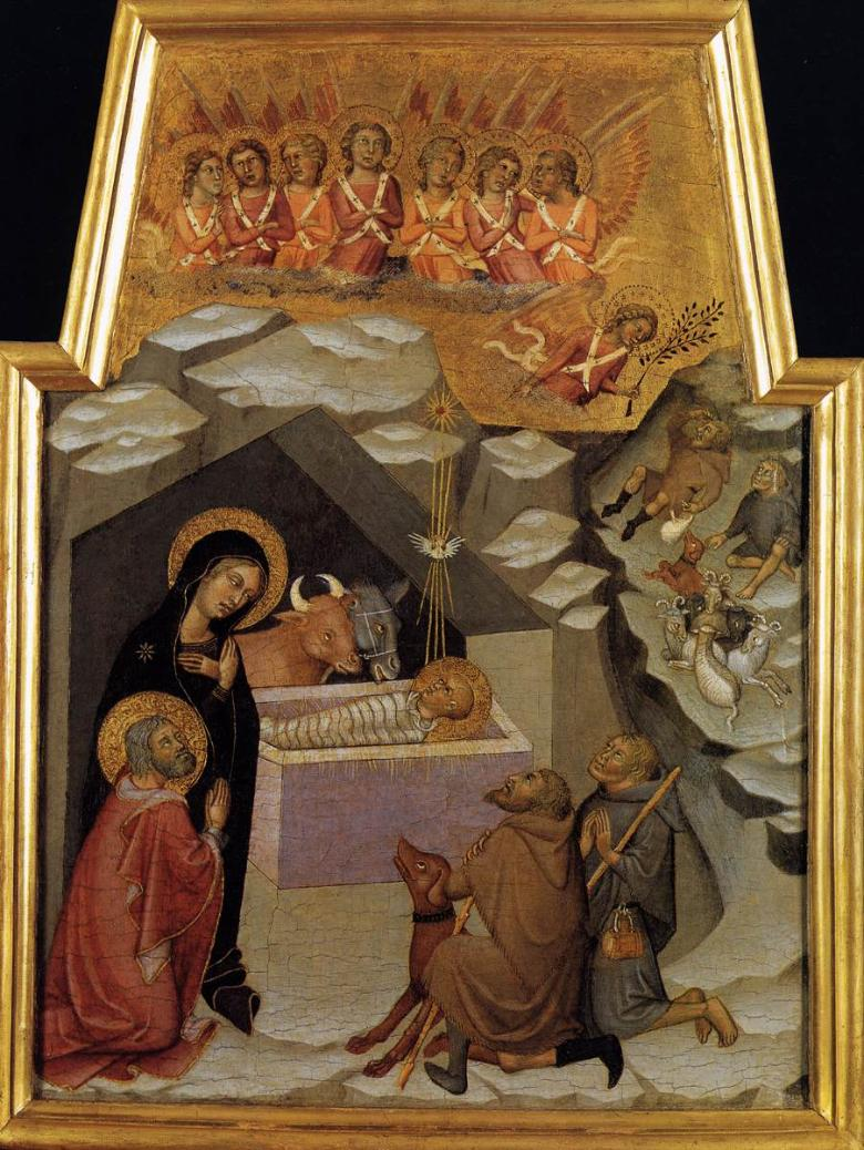 Bartolo di Fredi, Nativity and adoration of the shepherds, Vatican Museums, 1383