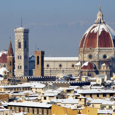 Duomo in Florence covered with snow