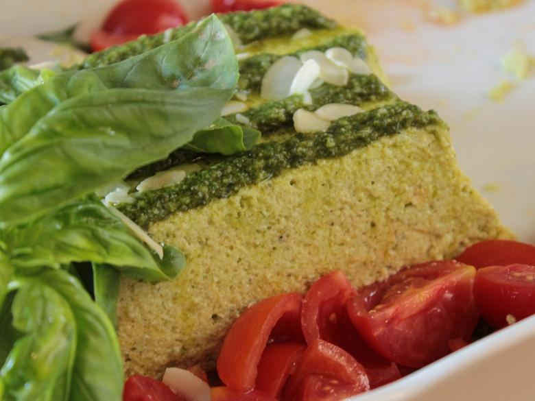 Courgette flan with basil sauce and fresh tomatoes by Arturo Dori