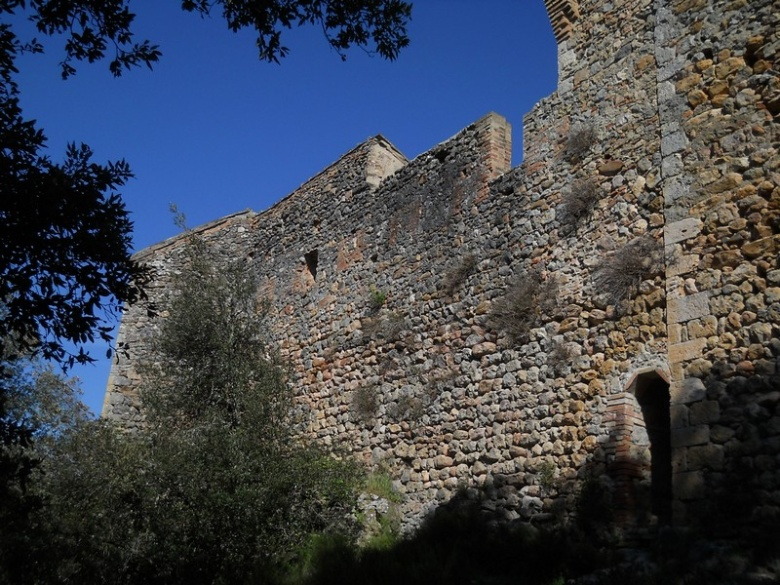 The walls of the castle of the noble Balzetti family, hidden within the forest in the Alto Merse
