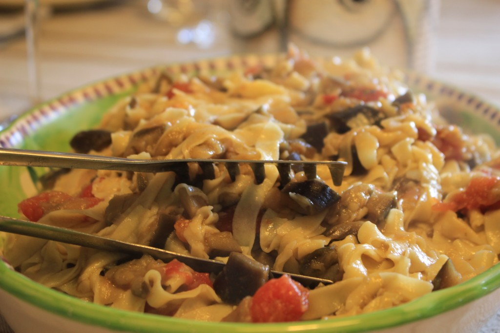 Homemade tagliatelle with aubergines