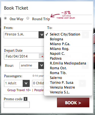Cities you can reach from Florence with Italo