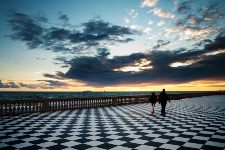 The terrace named after the livornese composer pietro mascagni has a very special architecture the floor is a 8700 square meter chessboard