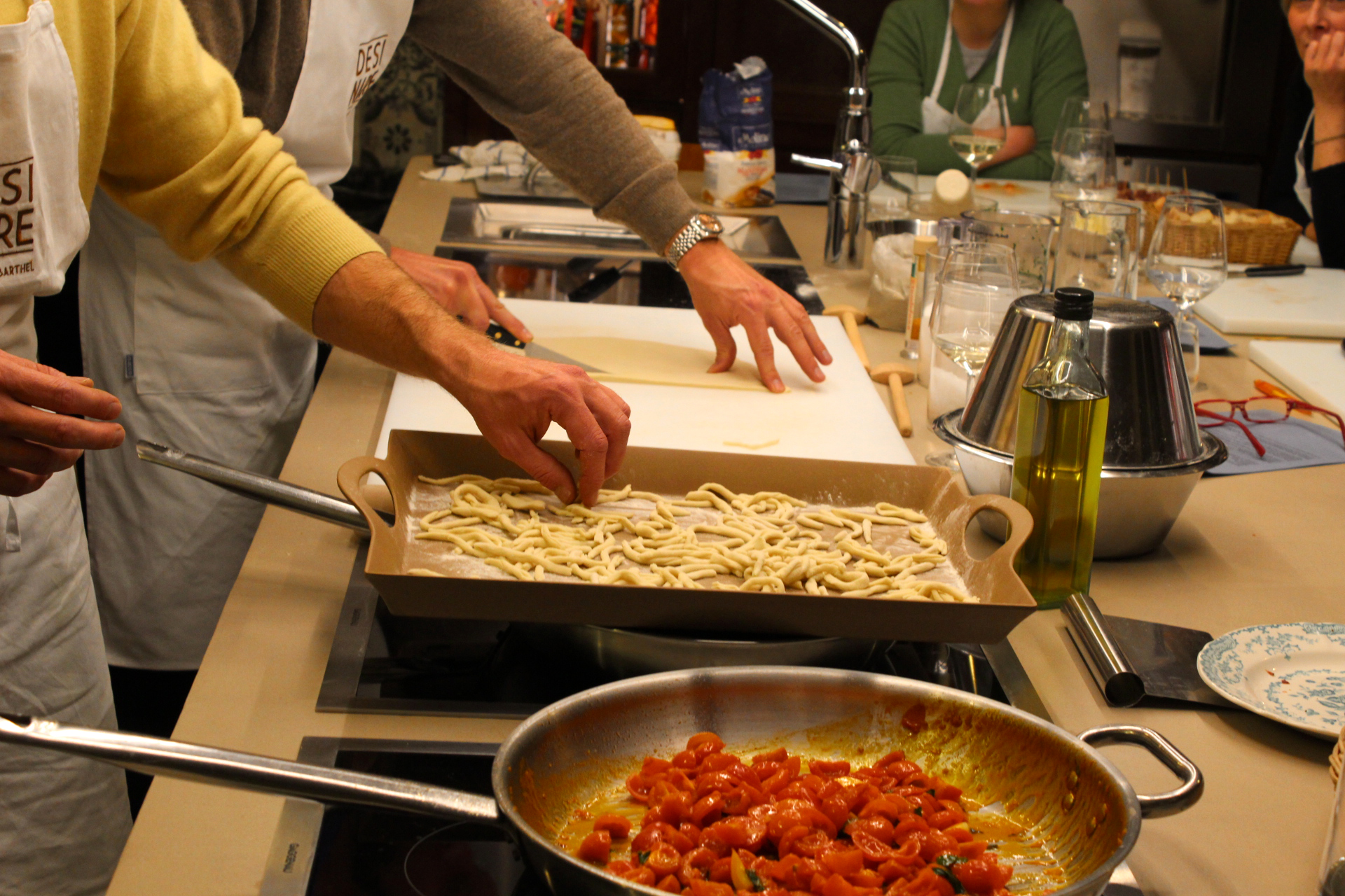 All together, making strozzapreti pasta