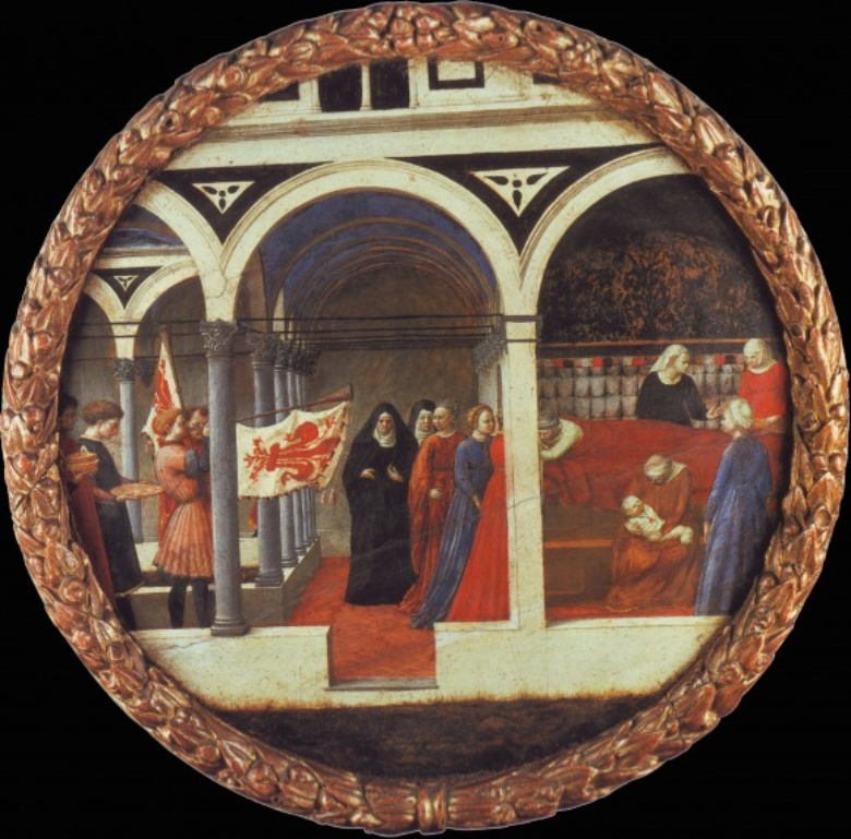 Masaccio, Birth salver depicting the nativity, with Florentine horn-blowers (aka The Berlin Tondo), 1427-8. Berlin, Staatliche Museen