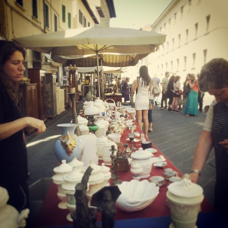 Antique market in Pistoia, which takes place the second weekend of every month