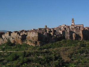 Pitigliano grows out of the tufa stone... Photo I took in 2003.