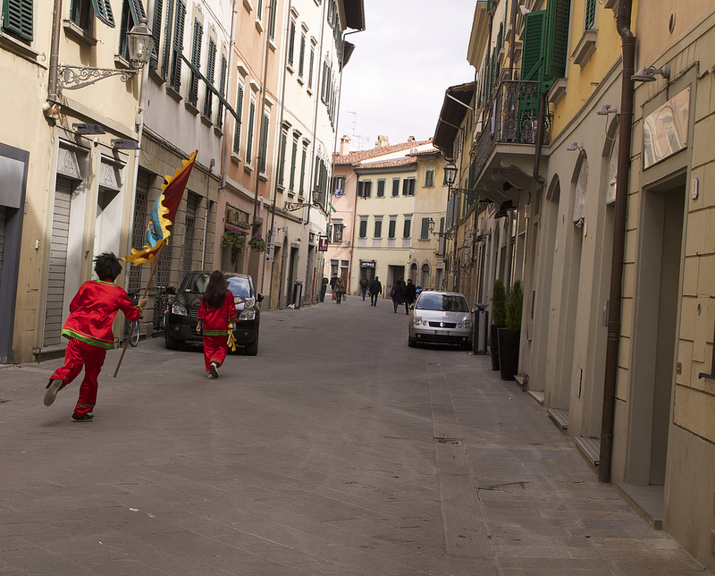 Along the streets of Prato during the Chinese New Year