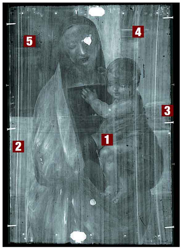 X-ray of Raphael's painting (source: Corriere della Sera)