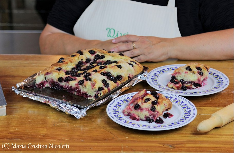 Grape schiacciata flat cake by Judy Witts (Over the Tuscan Stove). Judy lives in the hills outside Certaldo