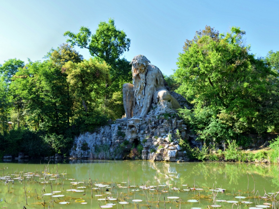 The Appennine Colossus by Giambologna, a sculpture located in Florence, in the park at Villa Demidoff