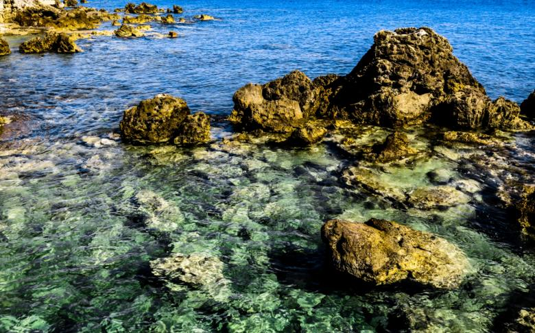 The crystal-clear waters in the Castiglioncello bay