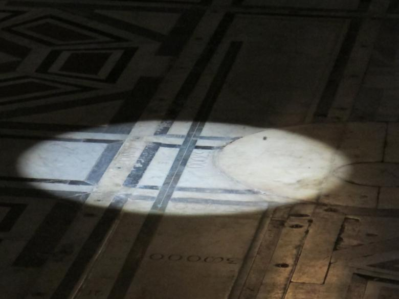 The gnomon projection on the floor of the Santa Maria del Fiore Cathedral during the solstice