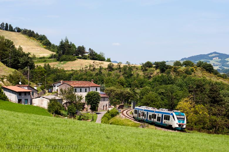 Train passing by Marradi along the historical Faentina