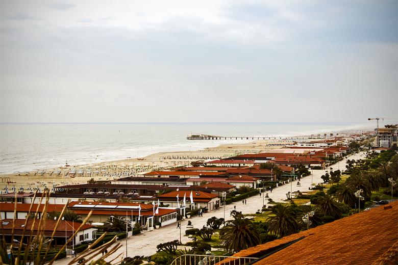 Viareggio and Lido di Camaiore seen from the terrace of the Hotel Principe di Piemonte