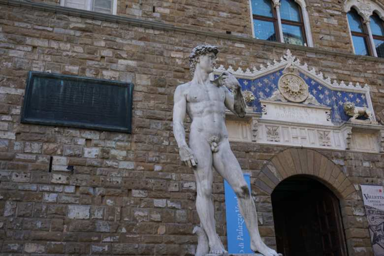 The copy of Michelangelo's David in front of Palazzo Vecchio in Florence