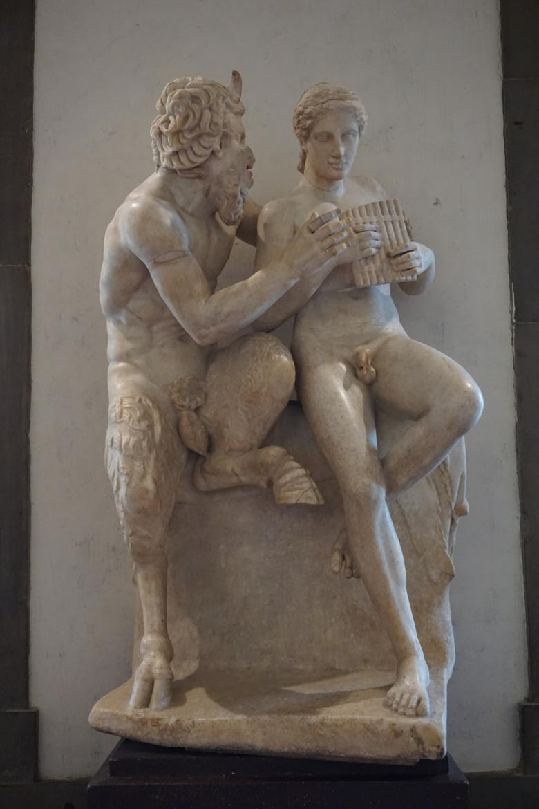 The statue of Pan and Daphnis at the Uffizi Gallery in Florence