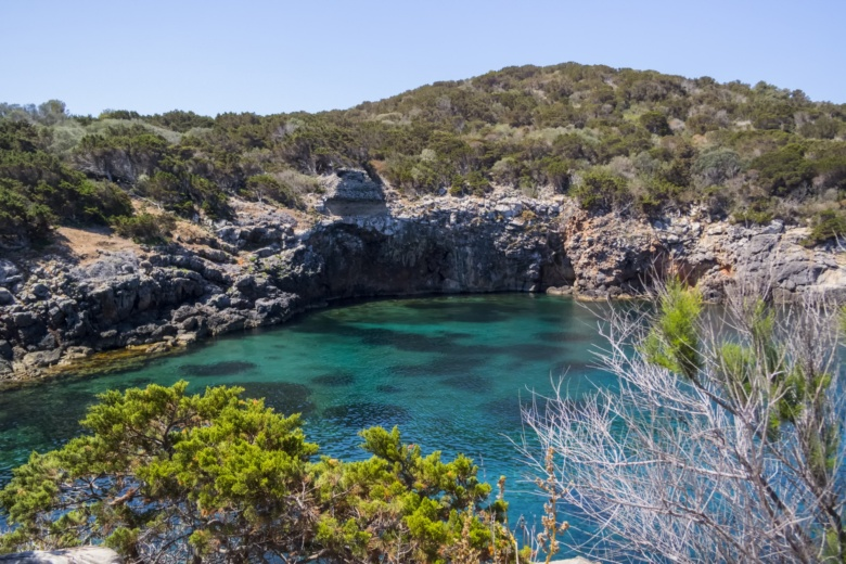 Small, rocky bay with the Mediterranean scrub