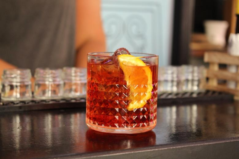 Negroni: one part of gin, one part of sweet vermouth, and one part of Campari - Thank you Eating Europe for the cocktail lesson