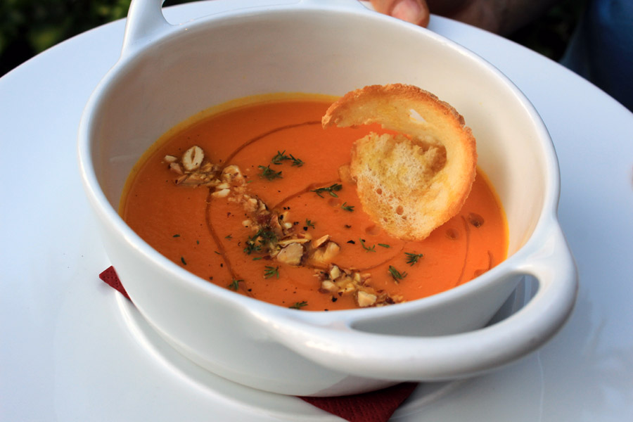 Spiced citrus carrot soup with almonds