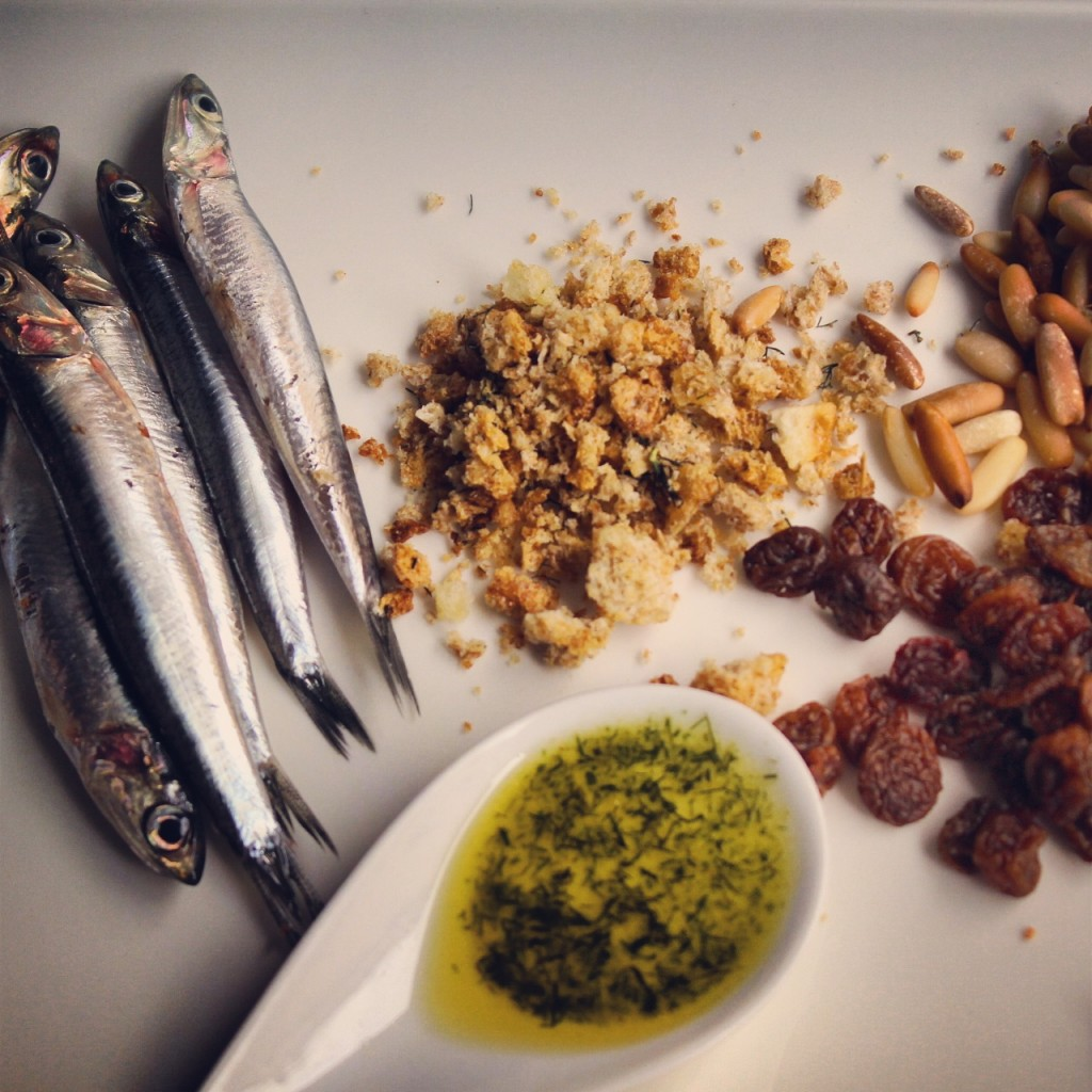 sardines, olive oil with wild fennel, pine nuts, raisins and crispy crumbs