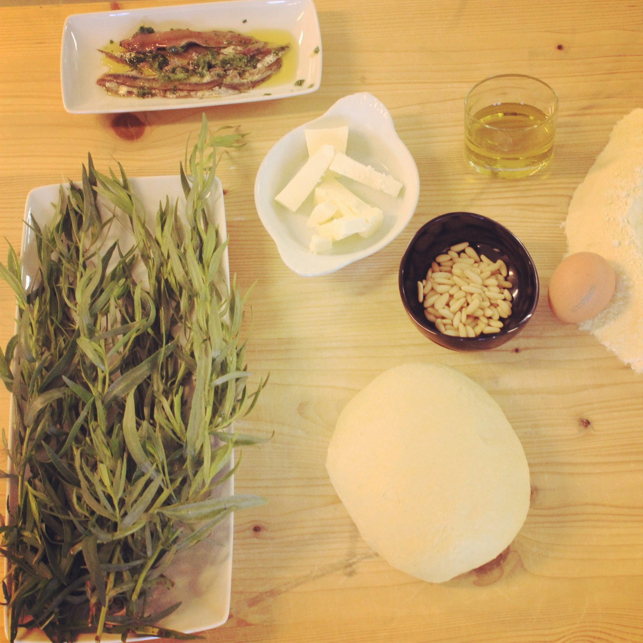 Ingredients for Pici with tarragon pesto, bread crumbs and anchovies