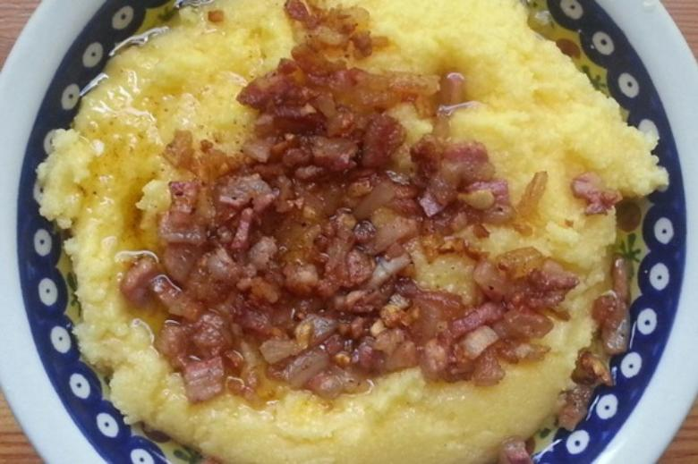 Pancetta all'aceto with polenta