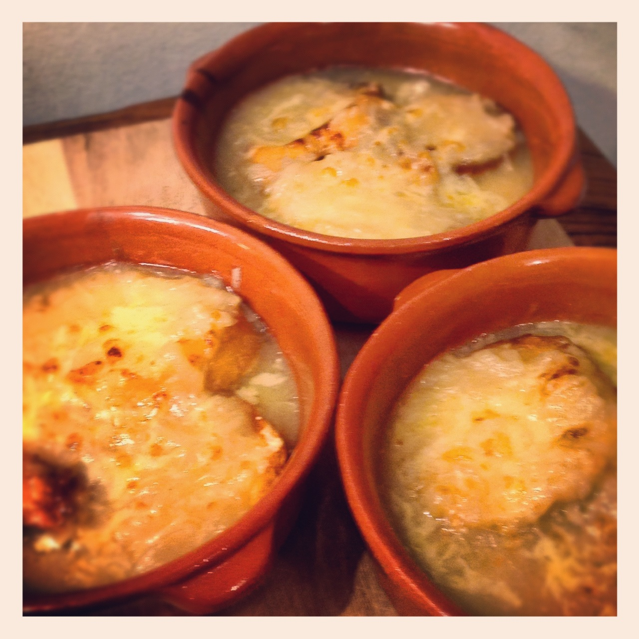 <br />Pour the soup into the bowls and add some cheese on the top of the soup. Cook in the oven for about 10 minutes to create a golden crust.
