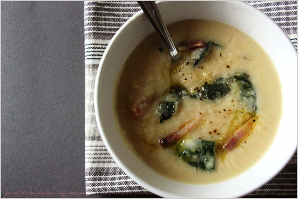 Beans soup with Tuscan kale and crispy bacon