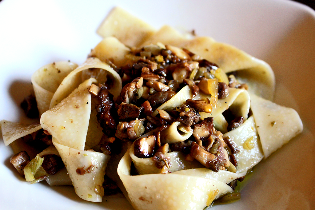 Pappardelle pasta with porcini mushrooms