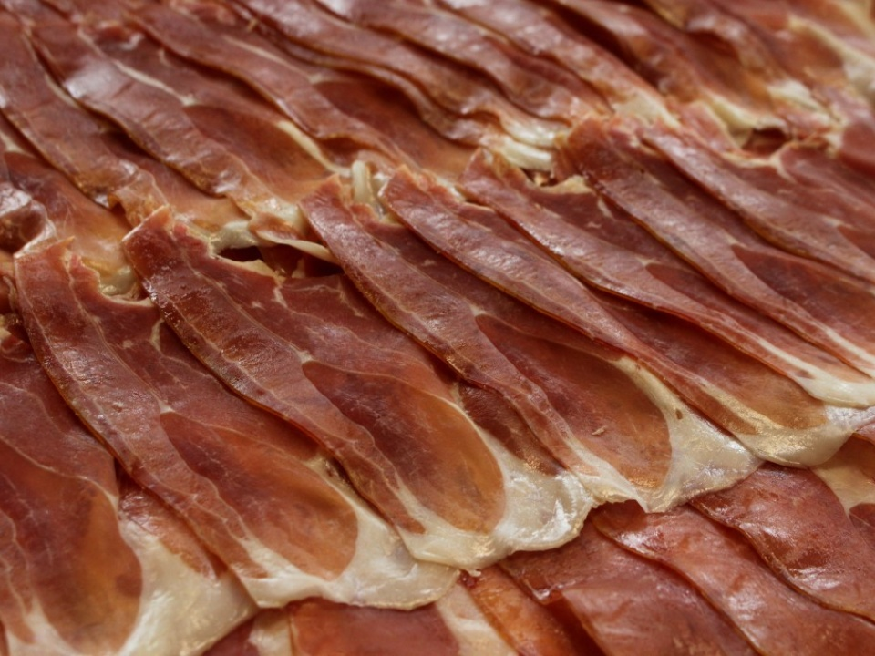 Slices of Prosciutto Toscano DOP