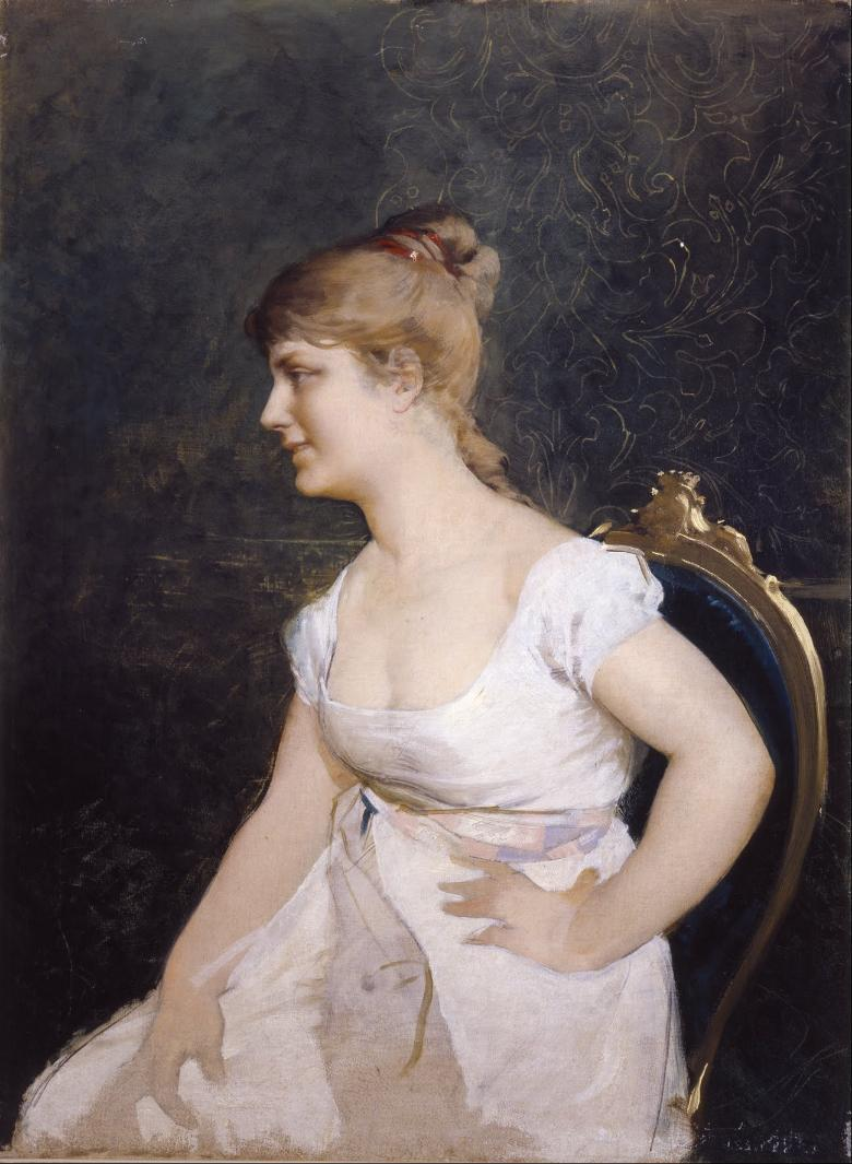 Amos Cassioli, portrait of a young lady