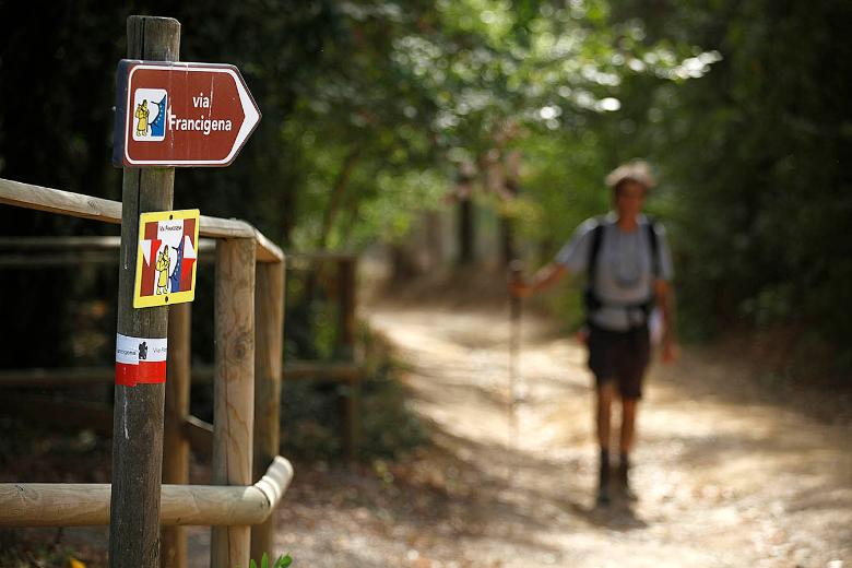 Stickers along the Via Francigena